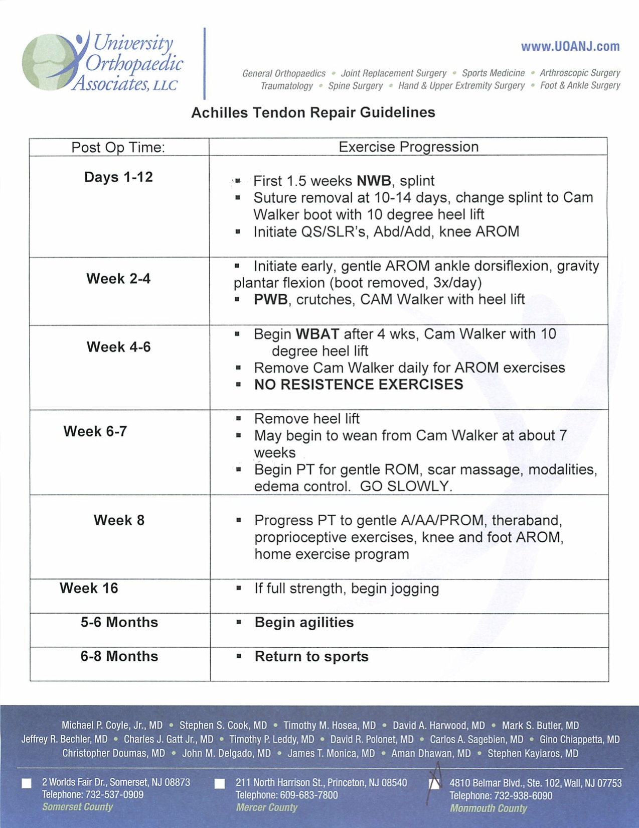 Achilles tendon rupture physical therapy - Achilles Tendon Repair Guidelines